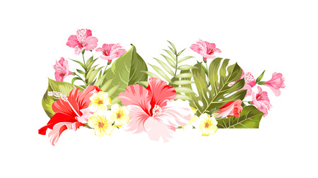 Exotic flowers bouquet of color bud garland. Label with hibiscus flowers. Bouquet of aromatic tropical flowers. Invitation card template with color flowers of alstroemeria. Vector illustration. Illustration
