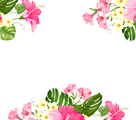 Tropical flower garland for your card design. Label with plumeria flowers. Invitation card template with color flowers of alstroemeria. Vector illustration.