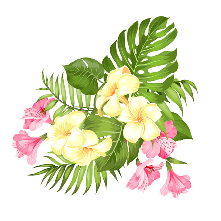 Vacation illustration with floral garland. Wedding garland with tropical flowers for invitation card. Summer holiday invitation card with floral bouquet with text place. Vector illustration. Ilustración de vector