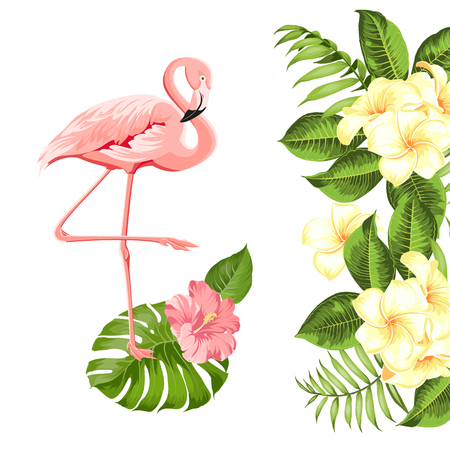 Floral exotic natural decoration. Safary summer background with Tropical leaves silhouette, blooming plumeria flowers, and flamingo birds. Vector illustration.  イラスト・ベクター素材