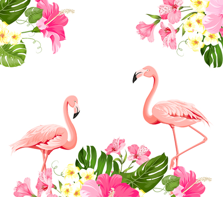 Flamingo background design. Tropical flowers illustration. Fashion summer print for wrapping, fabric, invitation card and your template design. Vector illustration.