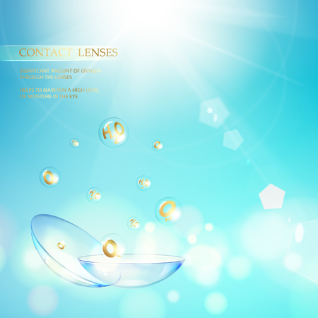 Science illustration for medical design. Contact lens concept with water wave flow over blue background and two eye lenses. Vector illustration.