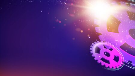 Glowing gears and wheels. Night sparkle abstract background. Vector illustration. Ilustração