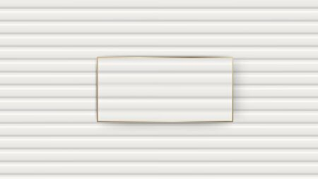 Wooden walls white texture with empty golden frame for text. Vector illustration. Illustration