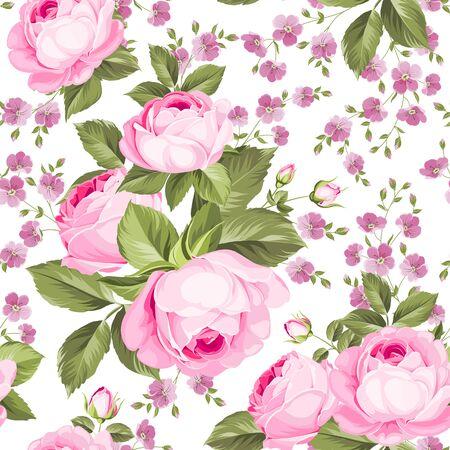 Luxurious color roses seamless pattern. Vector illistration. Ilustração