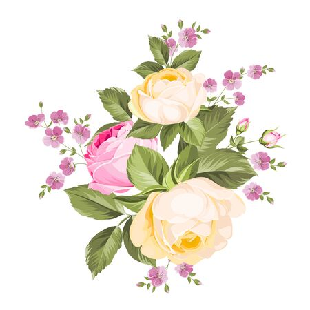 Bouquet of roses iolated on white background. Vector illustration. Stockfoto - 128488543