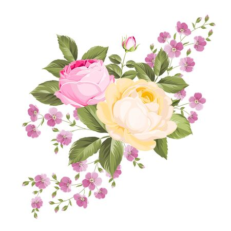 Spring flowers bouquet of color bud garland. Label with rose flowers. Vector illustration. Stockfoto - 128488544