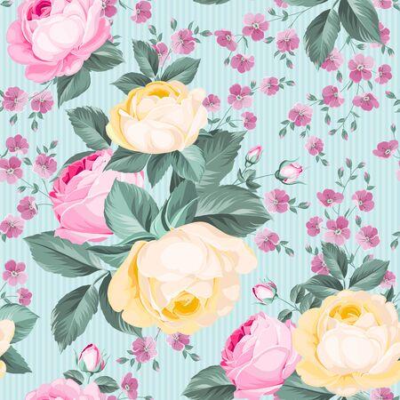 Elegant seamless rose pattern on white background. Vector illustration. Ilustração