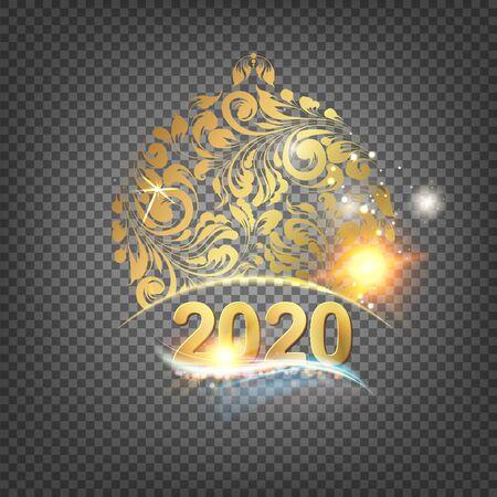 Golden christmas sphere decoration with glitter and sign 2020 over the dark transparent background. Vector illustration. Ilustração