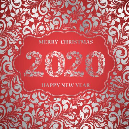 Happy new year card with floral style pattern on red background and sign 2020, marry christmas on the center. The card containes holiday template text. Vector illustration.