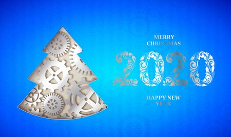 Happy new year card with fir tree made from gears over blue background. Vector illustration.