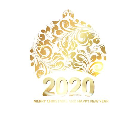 Golden christmas sphere decoration with glitter and sign 2020 over the white background. Vector illustration.