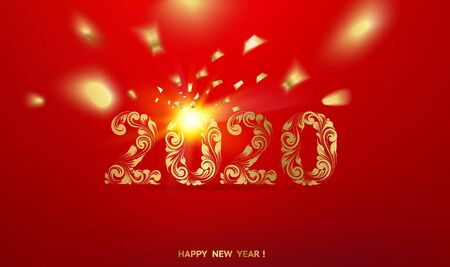Holiday card. Gold template over red background with golden sparks. Happy new year 2016. Red underwater abstraction. Fallen sparks and sun rays in the red area. Vector illustration.