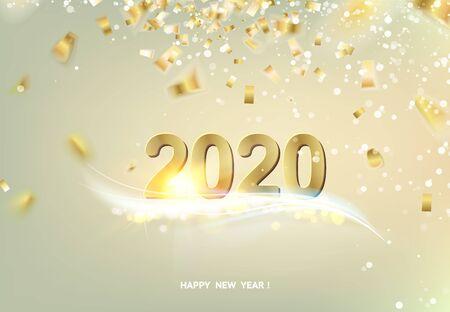 Gelukkig nieuwjaarskaart over grijze achtergrond met gouden confetti. Tekst teken 2020 jaar. Vector illustratie.