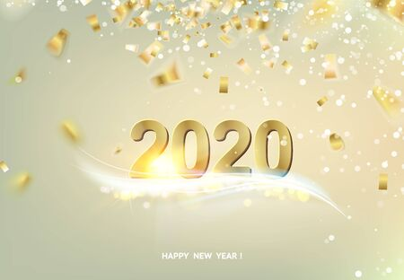 Happy new year card over gray background with golden confetti. Text sign 2020 year. Vector illustration.