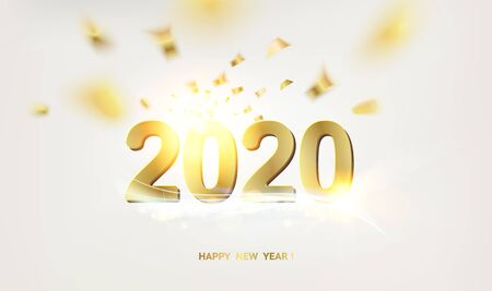 New year calendar label. Golden sign 2020 over gray bokeh background. Vector illustration.