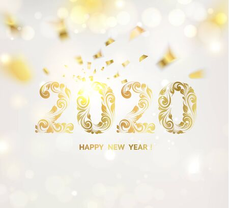 Happy new year card over gray background with golden confetti. Happy new year 2020. Holiday card. Template for your design. Vector illustration.