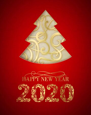 Merry Christmas and Happy New Year 2020 card with golden steampunk fir over red background. Vector illustration.