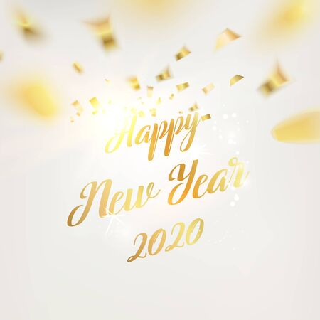 Happy new year card. Gold text template over gray background with golden sparks. New Year of 2020. Golden abstraction. Fallen sparks and sun rays on the gray area. Vector illustration. Ilustração