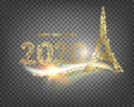 Eiffel tower icon with golden confetti 2020 sign isolated over transparent background. Vector illustration.