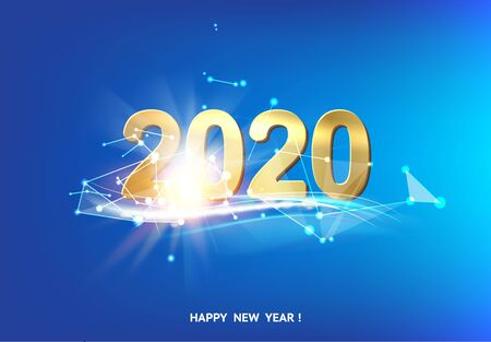 Happy new year card over blue background with white polygonal lines. Vector illustration.