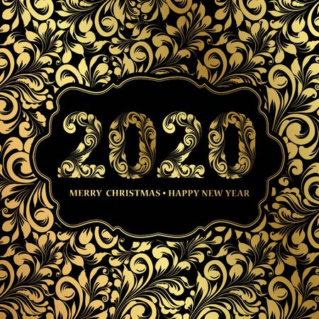 Happy new year card with floral style pattern on black background and sign 2020, marry christmas on the center. The card containes holiday template text. Vector illustration.