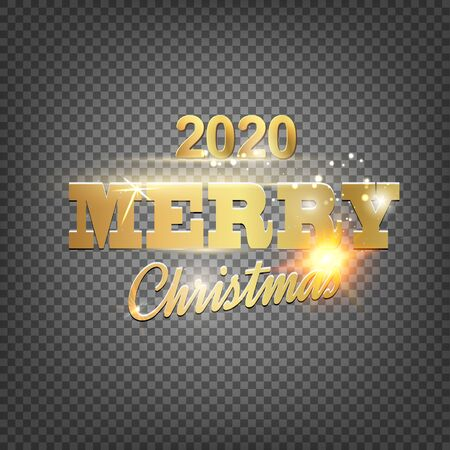 Christmas card with calligraphic text over transparent background. Merry Christmas greeting card. Vector illustration.