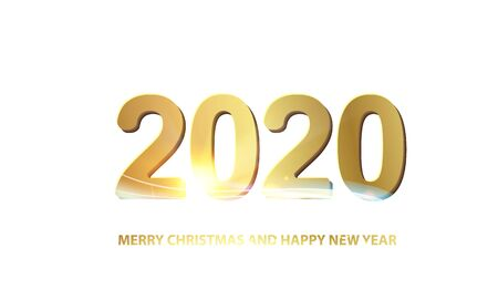 Happy new year card over white background. Text sign 2020 merry christmas and happy new year. Vector illustration.