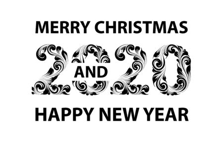 Christmas card with calligraphic text over white background. Merry Christmas and Happy new year 2020 text on greeting card. Vector illustration.