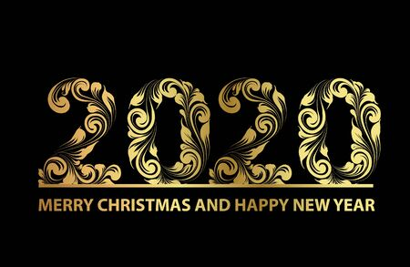 Christmas card with calligraphic text over black background. Merry Christmas and Happy new year 2020 text on greeting card. Vector illustration.