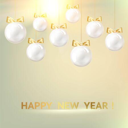 White christmas balls on golden background. Vector illustration.