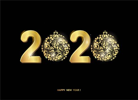 Christmas text over black background. Happy new year 2020 text on greeting card. Vector illustration. Ilustração