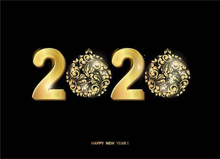 Christmas text over black background. Happy new year 2020 text on greeting card. Vector illustration. Illusztráció
