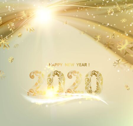 Merry Christmas card over gray background with golden sparks. Happy new year 2020. Holiday card. Template for your design. Vector illustration.