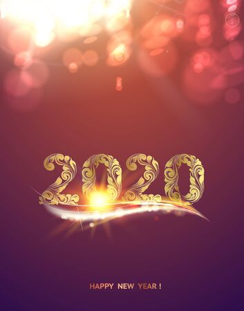 Gold template over purple background with golden bokeh. Happy new year 2020. Christmas card. Text on the color bokeh background. Vector illustration.