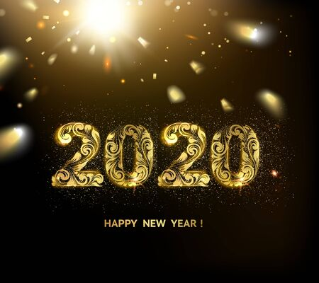 2020 New year background. Holiday label with fallen golden glitter confetti over black backdrop. Calendar design template.