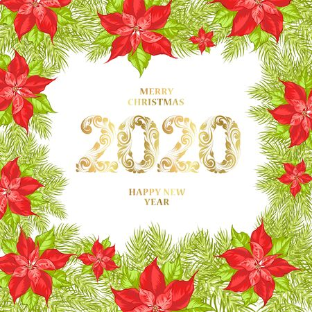Floral garland of red poinsettia with Merry Xmas sign. Vector illustration.