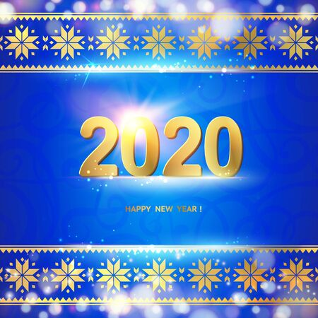 2020 year calendar design template. Holiday label with numbers over blue backdrop with ornamental border. Vector illustration.