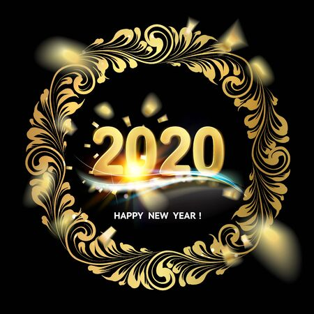 Happy new year card with floral style border on black background and sign 2020, happy new year on the center. The card containes holiday template text. Vector illustration.