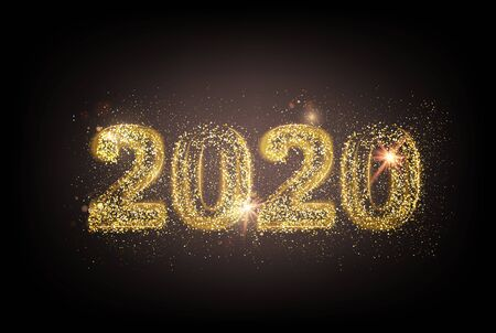 New year 2020 composition with fireworks and sparks. Template for your design. Vector illustration. Banque d'images - 128617286