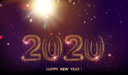 New year 2020 composition with fireworks and sparks. Template for your design. Vector illustration. Ilustração