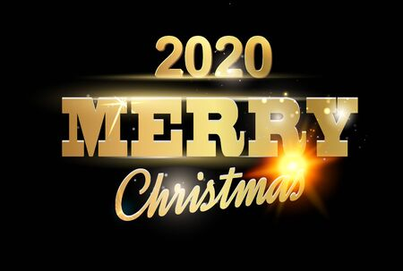 Christmas card with calligraphic text over black background. Merry Christmas greeting card. Vector illustration.
