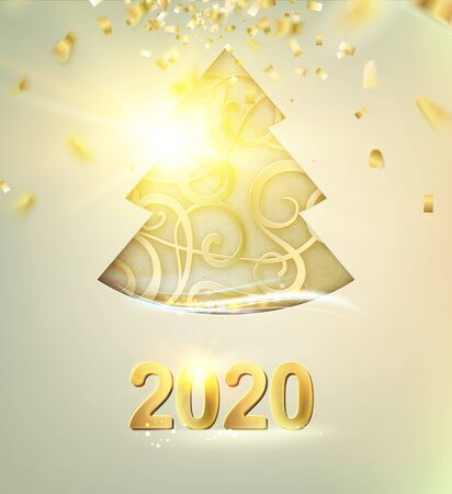 Merry Christmas and Happy New Year 2020 card with golden steampunk fir over shine confetti background. Vector illustration.
