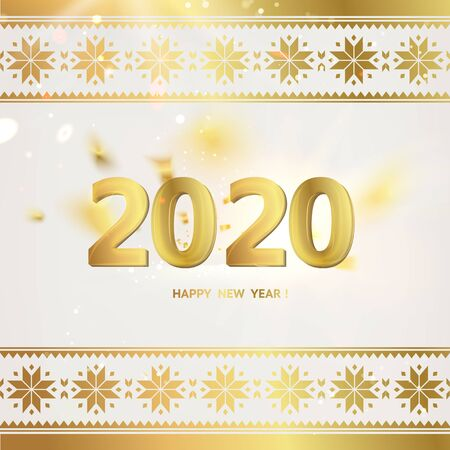 2020 year calendar design template. Holiday label with numbers over white backdrop with ornamental border. Vector illustration.