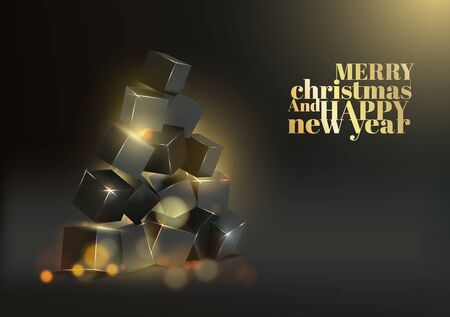 Christmas card with box pyramid like fir-tree over black  and golden sign merry christmas and happy new year.