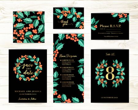 Bundle of Save The Date and RSVP Invitation Card. Invitation card with mistletoe background. Set of Floral templates with christmas flowers.