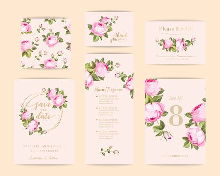 Bundle of Save The Date and RSVP Invitation Card. Invitation card with spring rose background. Set of Floral vertical template with garden blooming flowers.