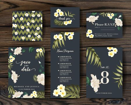 Bridal ornament concept. Vector decorative greeting card, invitation design background. RSVP card with plumeria elements. Set of Floral templates with garden blooming flowers.