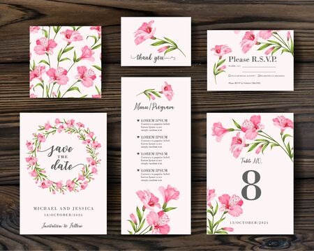 Wedding ornament concept. Vector decorative greeting card, invitation design background. RSVP card with alstromeria elements. Set of Floral templates with garden blooming flowers.