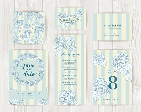 Bundle of Save The Date and RSVP Invitation Card. Coctail party invitation card with blue flowers of hydrangea on tile background. Set of Floral vertical templates with garden blooming flowers Illustration
